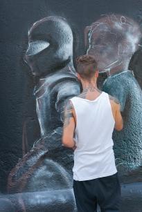 Streetart artist from Donau Kanal, Vienna.